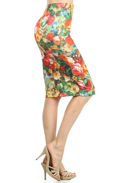 Floral Pencil Skirt- Mint and Coral
