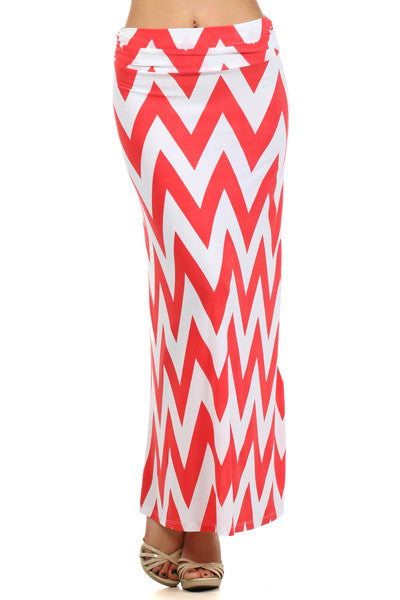 Plus Size Coral and White Chevron Maxi Skirt
