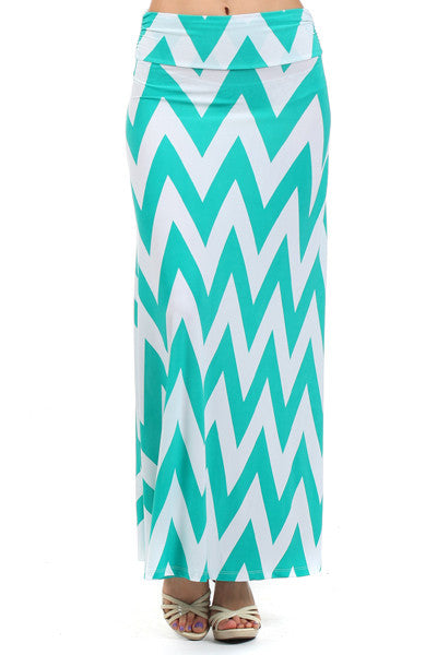 Plus Size Mint and White Chevron Maxi Skirt