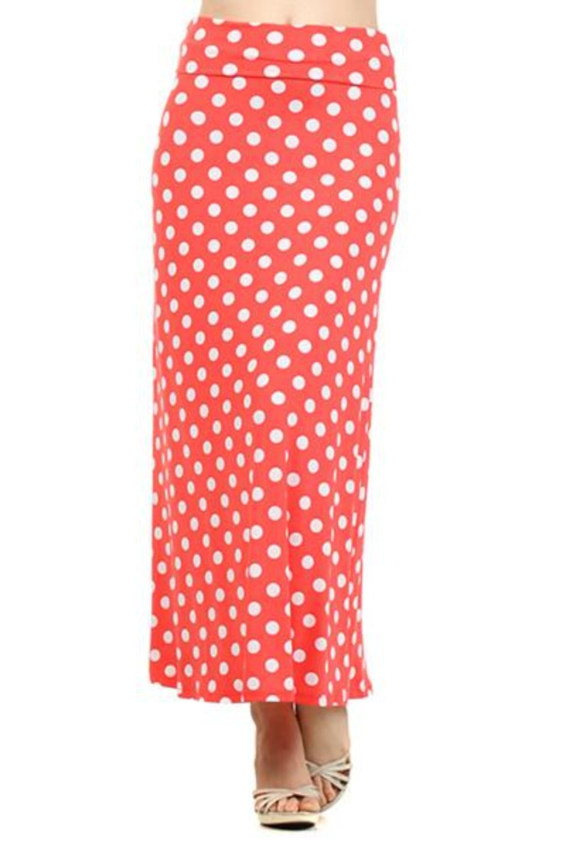 Plus Size Coral Skirt with White Polka Dot
