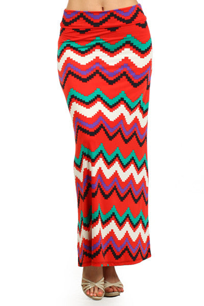 Plus Size Coral Multi Color Chevron Stripe Maxi Skirt