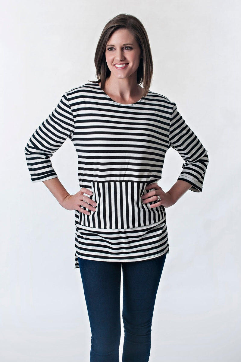 Striped Hi-Lo Pocket Detail Tunic | 2 colors
