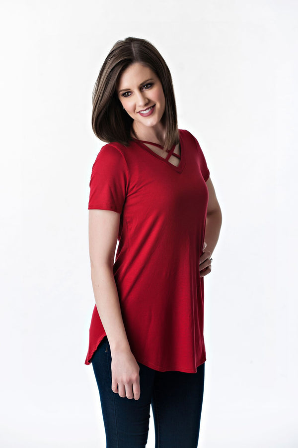 Short Sleeve Criss Cross Top | 5 colors