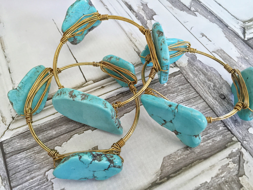 Turquoise Natural Stone Wire Wrapped Bracelets