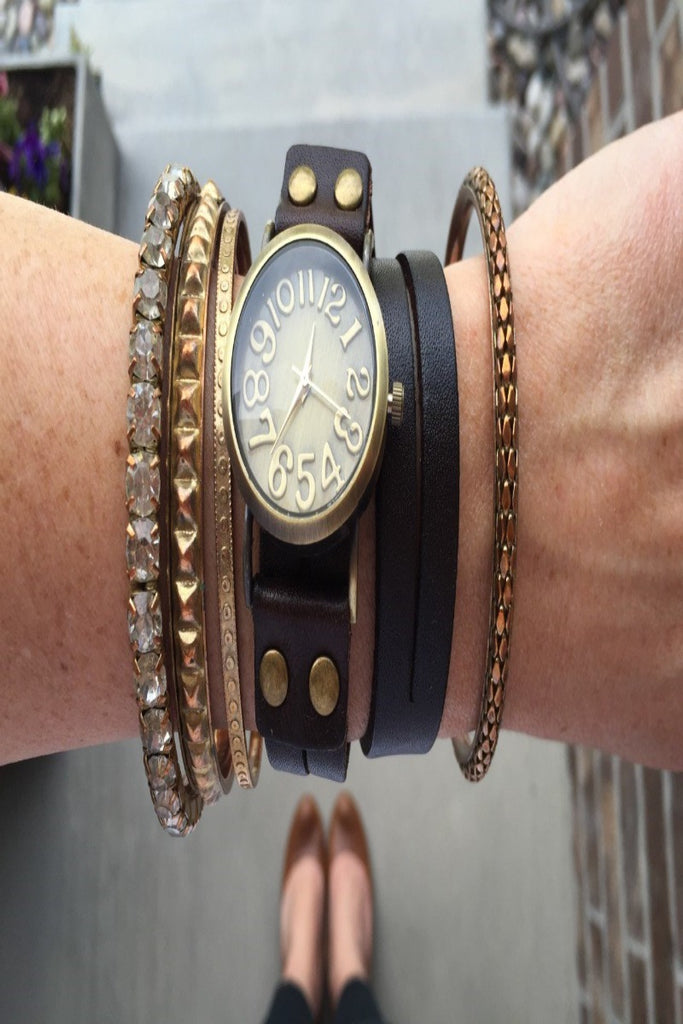 Vintage Leather Wrap Watch