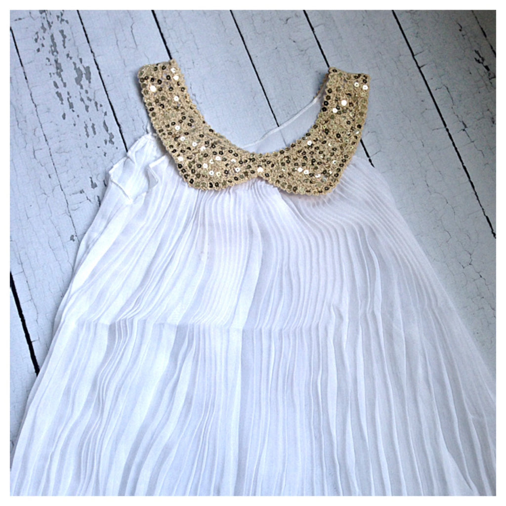 Girls Crepe Dress with Sequin Collar