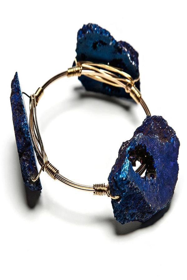 anna oversized geode + wire bracelet in grape