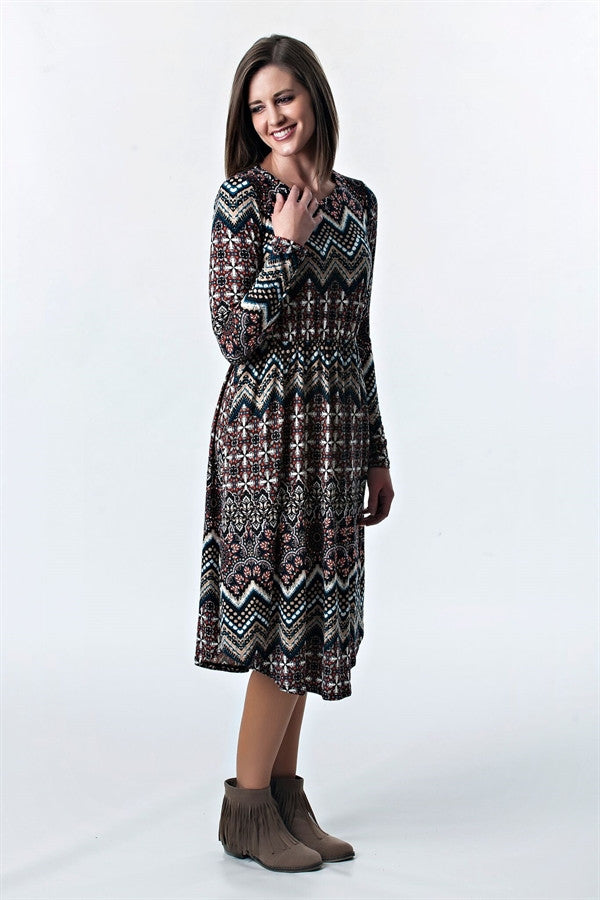 Aztec Midi Dress with Gathered Waist | 4 colors