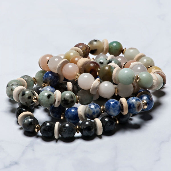 Sadie Bead and Disc Stretch Bracelets