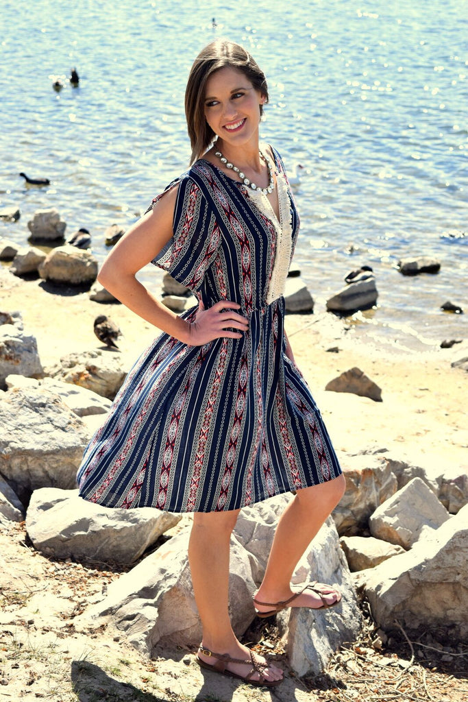 Navy Print Dress with Open Sleeve and Lace Trim