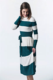 Color Blocked Striped Dress with Belt | 5 colors