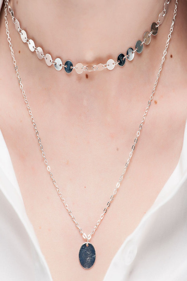 Layered Disc Choker and Pendant Necklace
