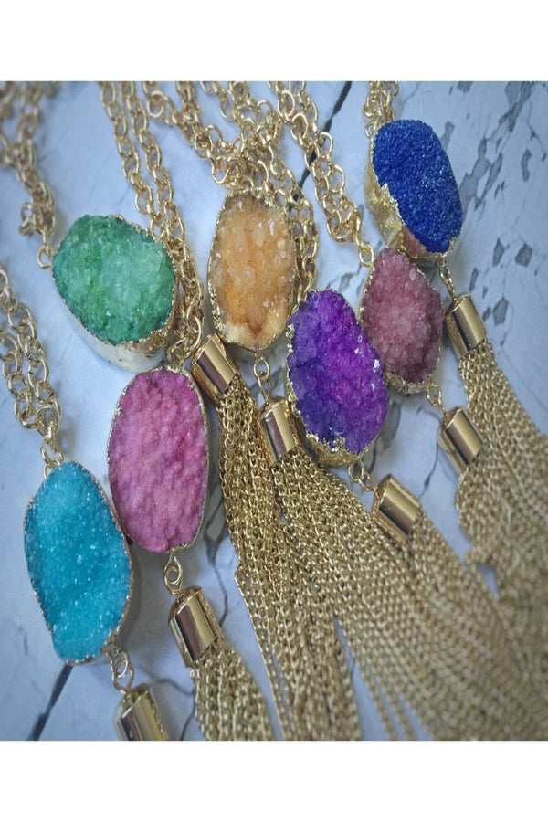 Beautiful Druzy Stone Fringe Pendant Necklace