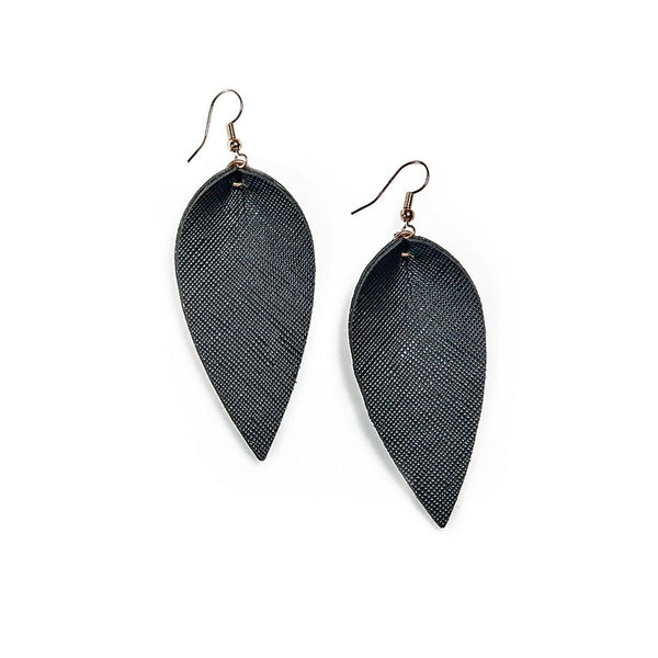 jen petal drop earrings in black