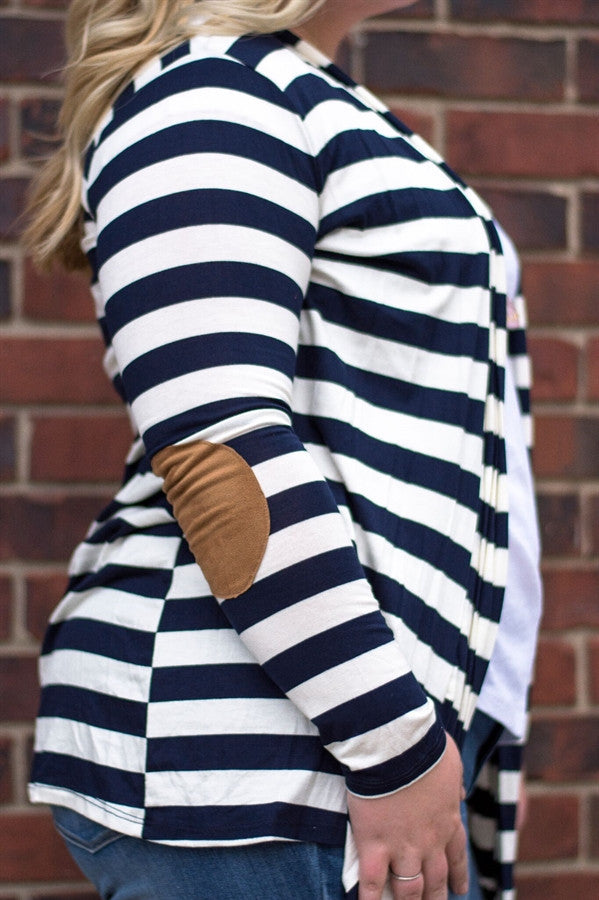 Striped Cardigan with Elbow Patch | Extended Sizes
