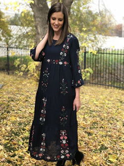 Navy Boho Embroidered Dress