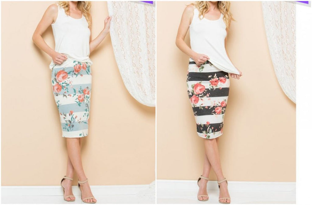 Floral Striped Skirt | 7 sizes