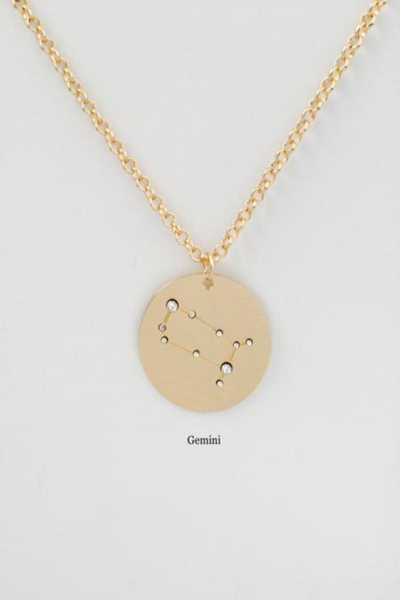 gemini | birth constellation stamped disc necklace
