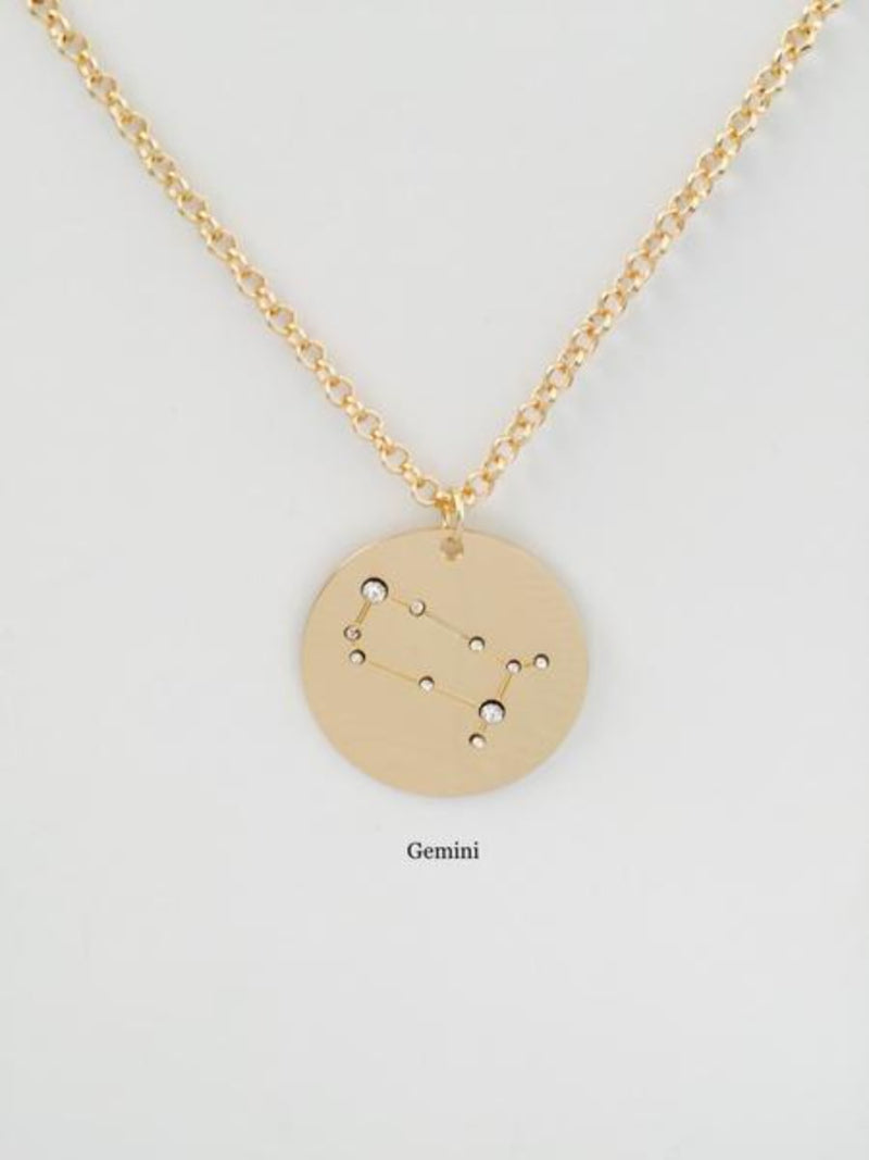 leo | birth constellation stamped disc necklace