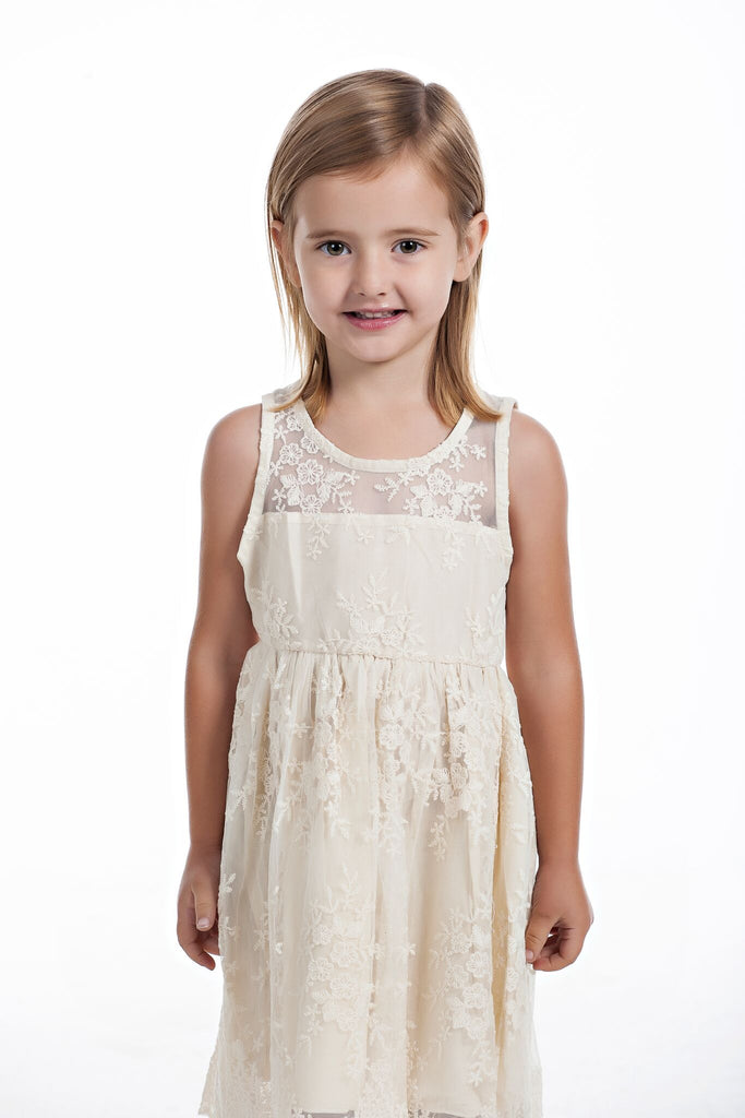 Girls Embroidered Lace Dress