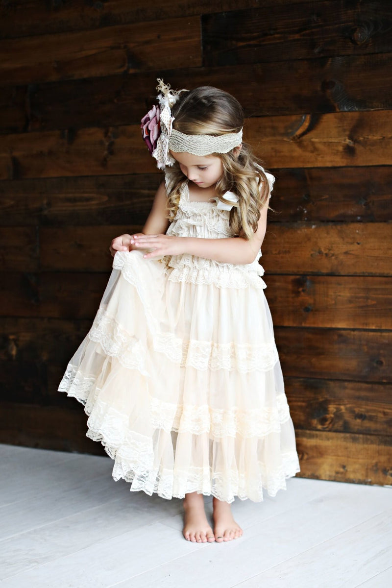 Girls Long Tiered Lace Cream Dress