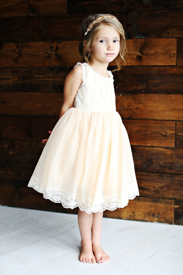 Girls Lace and Tulle Short Dress