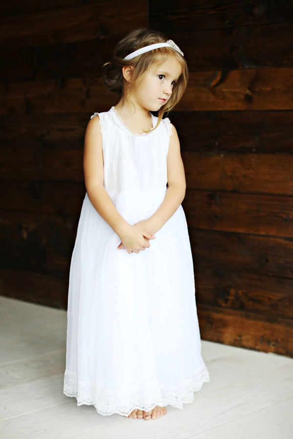 Girls Lace and Tulle Long Dress