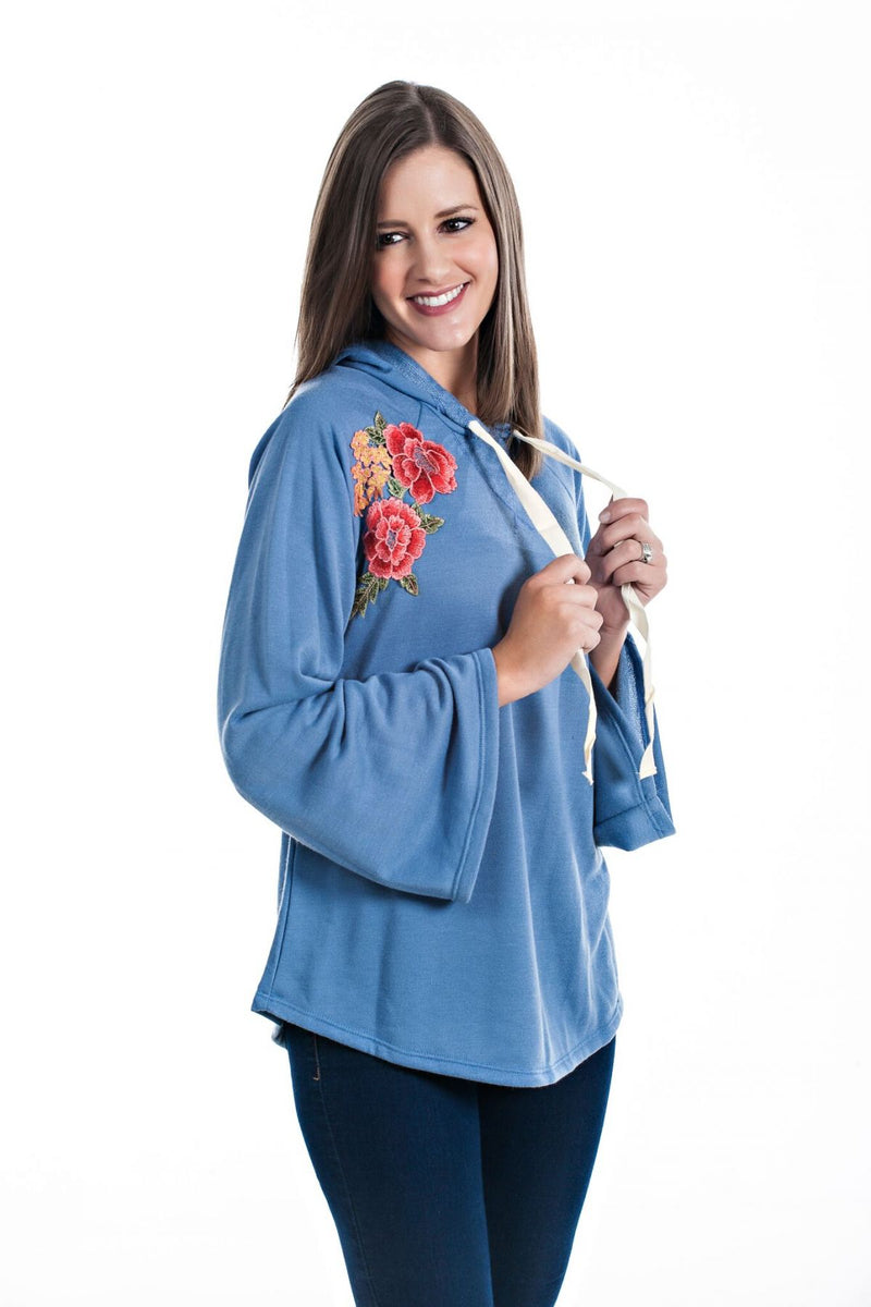 Bell Sleeve Hoodie with Floral Patch