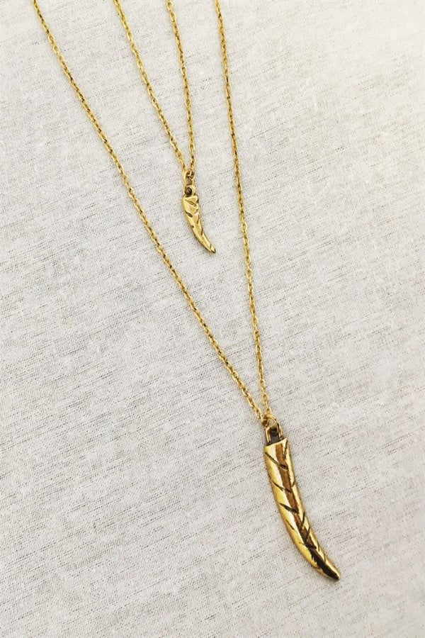 Antique Gold Horn Layered Necklace