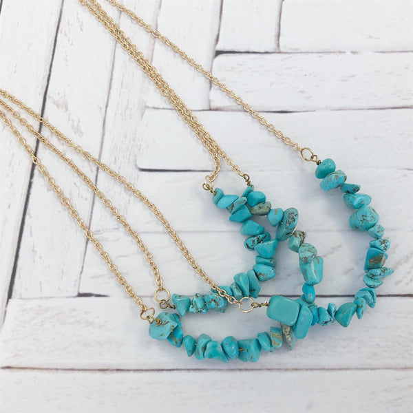 Multi Layer Turquoise Stone Necklace