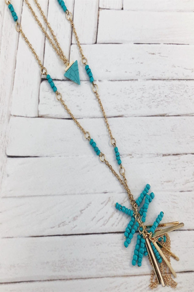 beaded full fringe tassel necklace