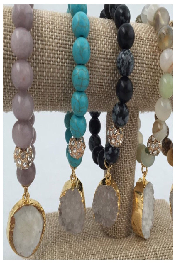 Luxe Stone and Druzy Stretch Bracelets