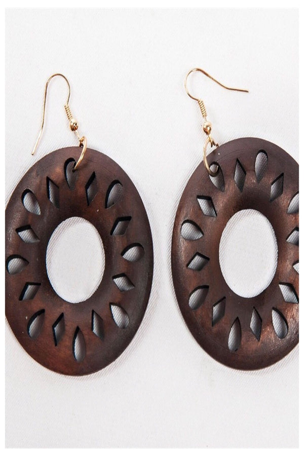 Large Circle Wooden Earrings