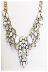 White and Crystal Ornate Statement Necklace