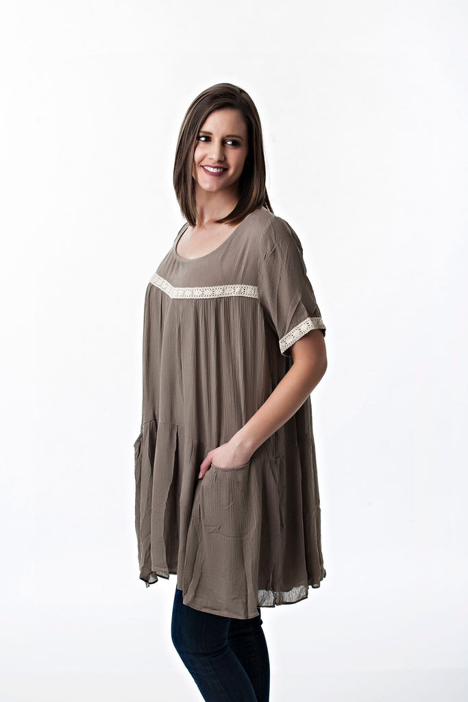 Flowy Babydoll Top with Pockets