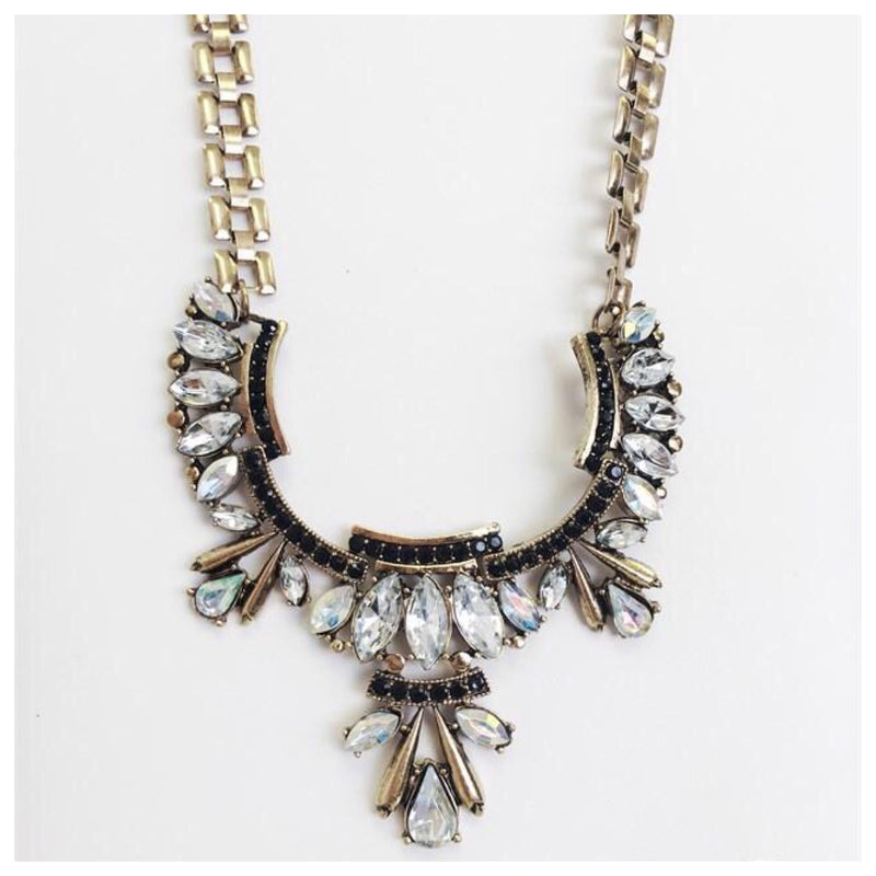Tribal with Waffle Chain Statement Necklace