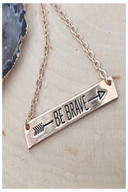 be brave dainty bar necklace