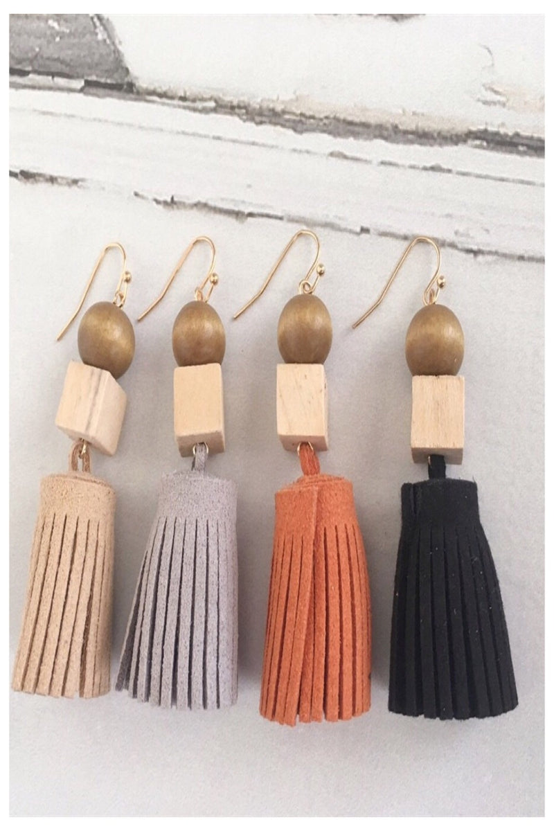 Suede and Wood Fringe Earrings