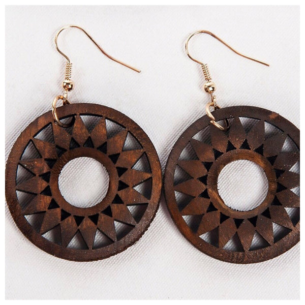 Wooden Sunburst Circle Earrings