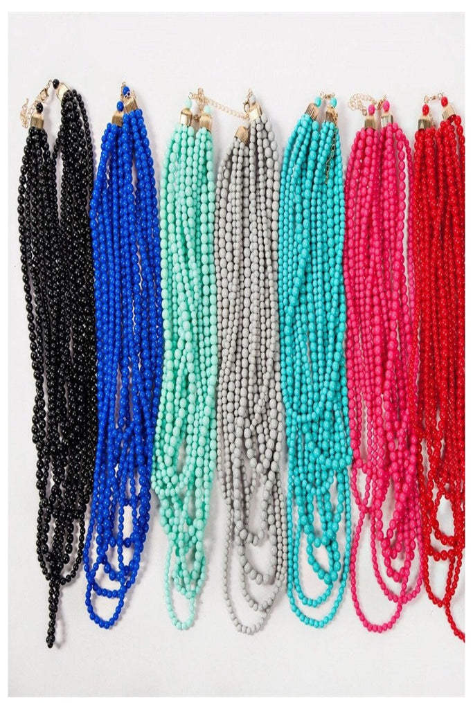 Seven Strand Layered Bead Necklace-Lots of colors!