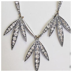 Crystal and Silver Palm Statement Necklace