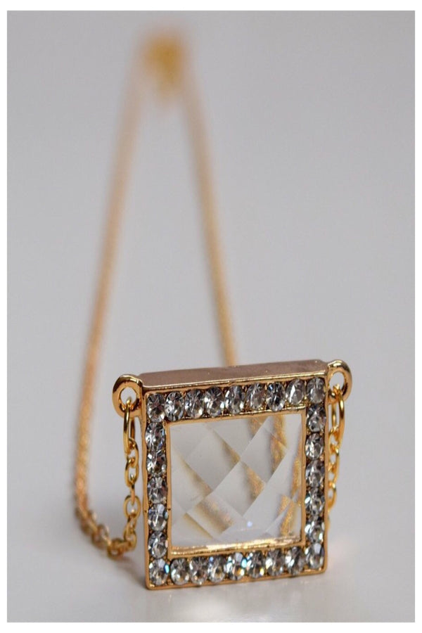 Bejeweled Beveled Window Frame Necklace