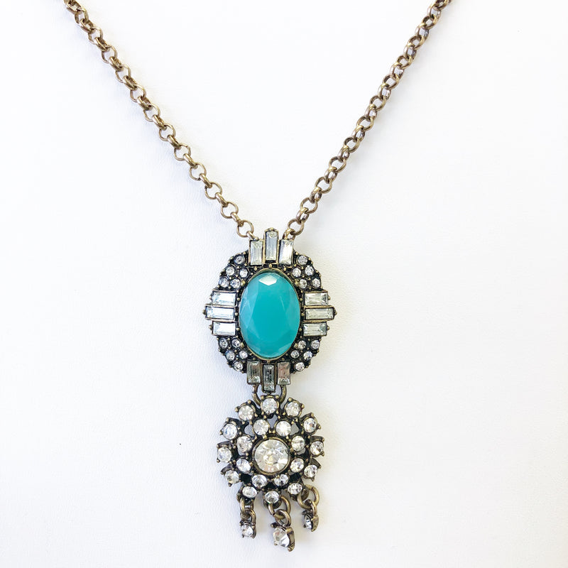 Long Chain Turquoise Bead and Rhinestone Statement Necklace