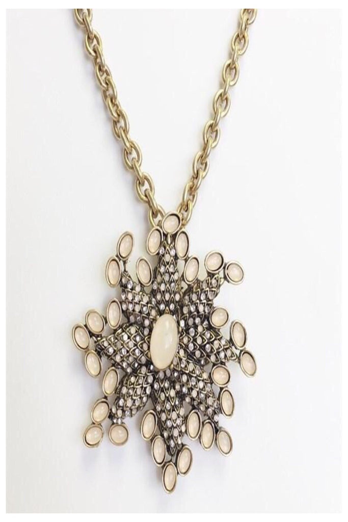 Long Chain with Star Brooch Statement Necklace