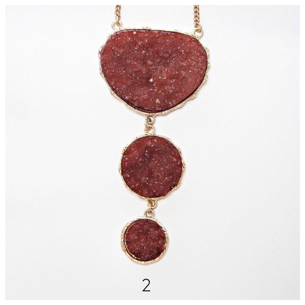 Statement Triple Stone Druzy Necklace
