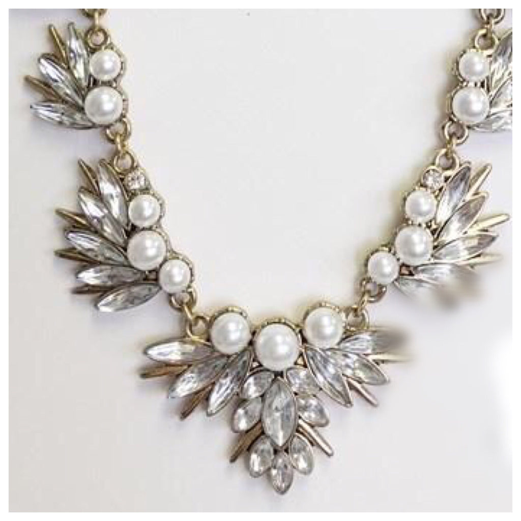 Pearl and Peacock Feather Statement Necklace