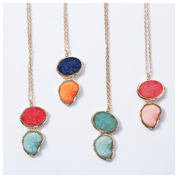 Double Druzy Pendant | 4 Color Combos!