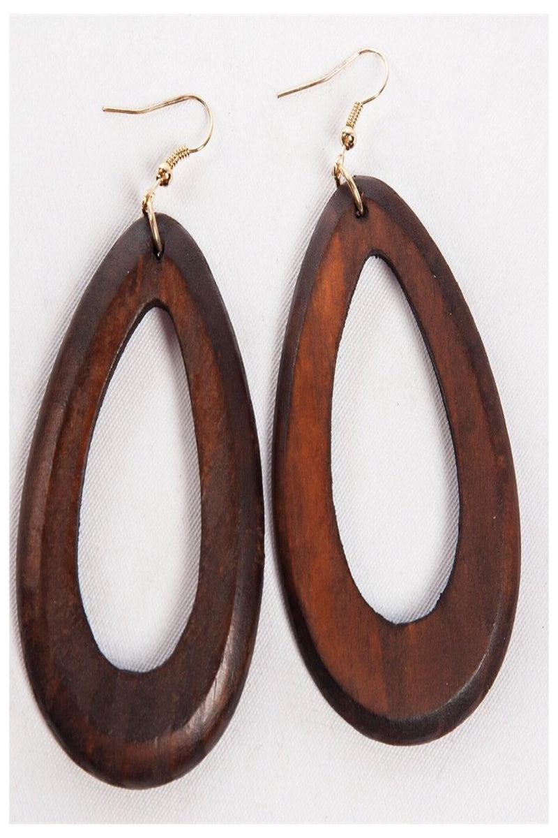 Large Teardrop Wooden Earrings