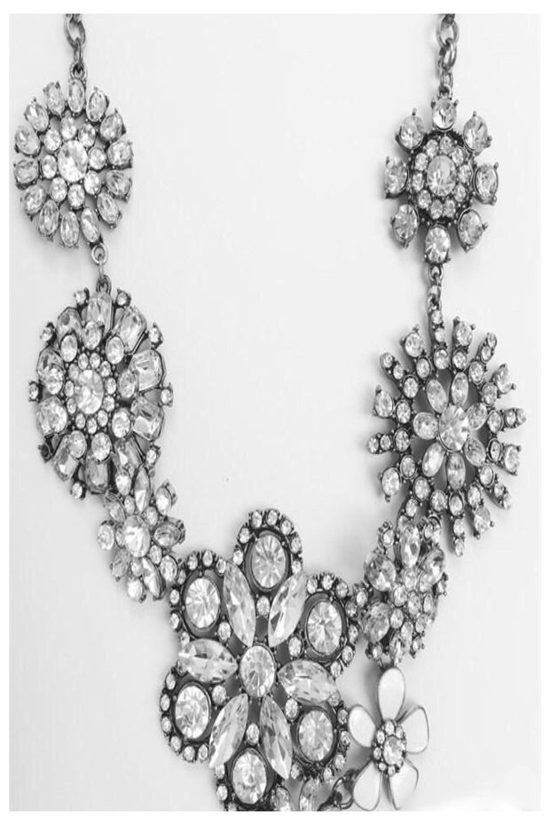 Ivory Flower Crystal Bib Statement Necklace