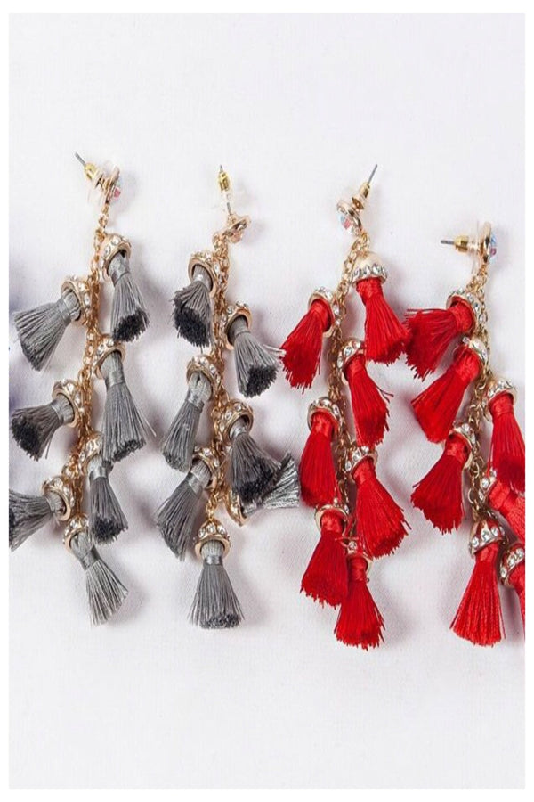 Tassel and Rhinestone Statement Earrings